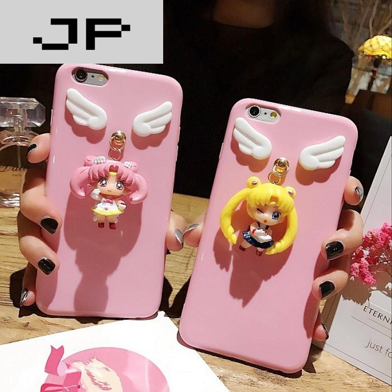 jp潮流品牌iphone7plus美少女挂饰手机壳苹果6plus吊坠创意卡通6s软壳