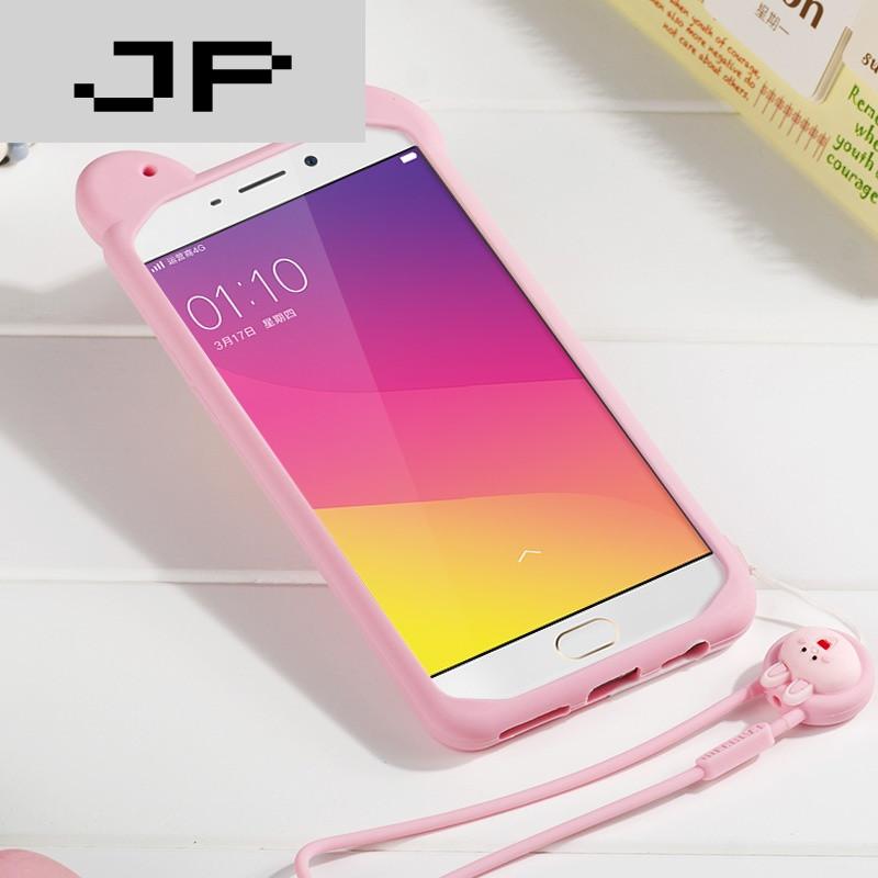 jp潮流品牌oppo r9plus手机壳女款硅胶套挂绳卡通可爱