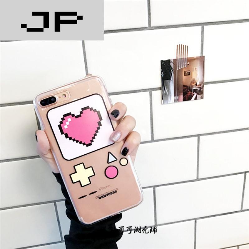 jp潮流品牌韩国小可爱 爱心游戏机手机壳iphone6s/7plus苹果6代透明全