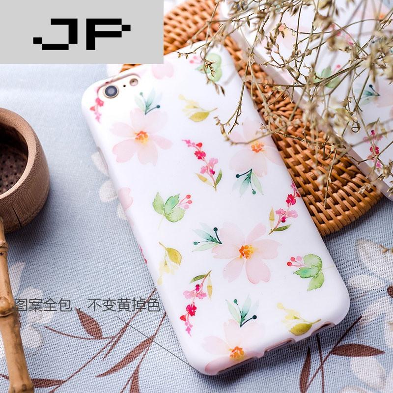 jp潮流品牌小清新花朵苹果6plus手机壳磨砂7plus全包保护套软壳6s防摔