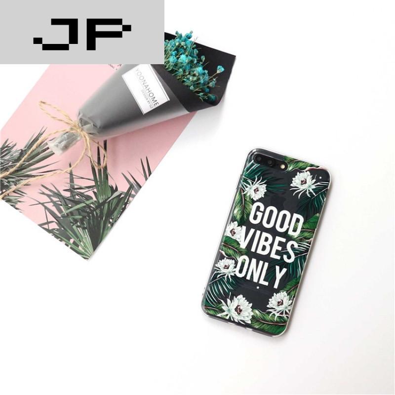 jp潮流品牌韩国ins清新花朵叶子iphone7plus手机壳苹果6s透明硅胶保护