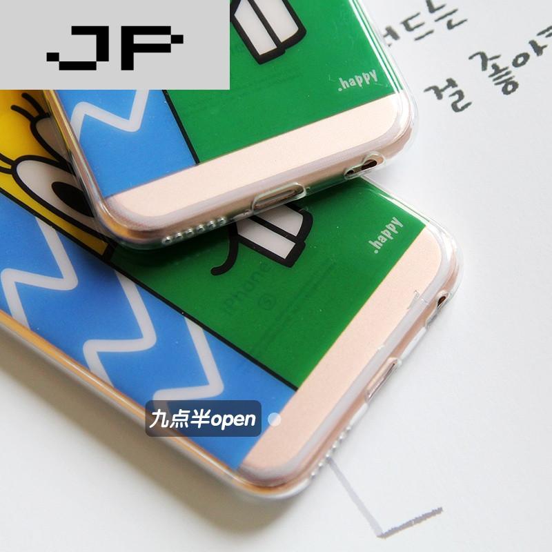 jp潮流品牌原创可爱童趣拼接色块苹果6s手机壳可爱卡通iphone6plus