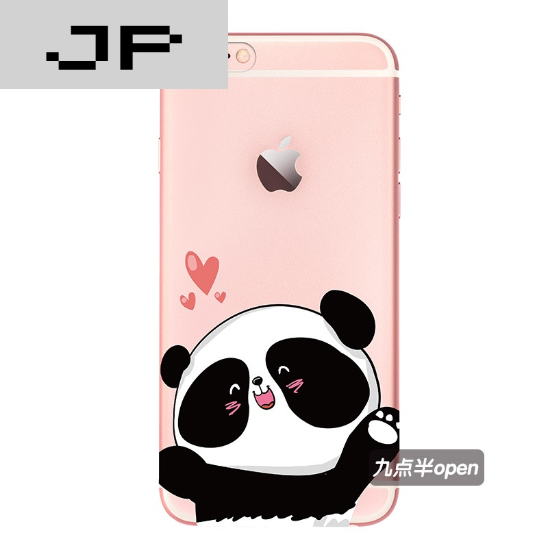 jp潮流品牌原创可爱卡通熊猫宝宝苹果6/6s手机壳透明超薄6plus全包软