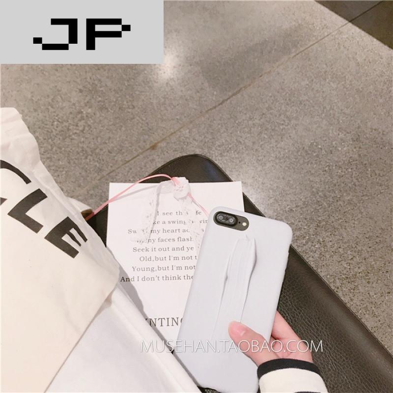 jp潮流品牌暖白色简约风 水墨画苹果6s手机壳全包iphone7plus创意个性