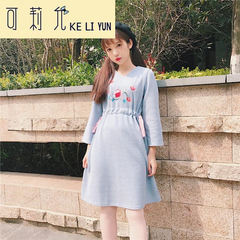 keliyun春装新款女装森系文艺复古绣花蝴蝶结系带收腰