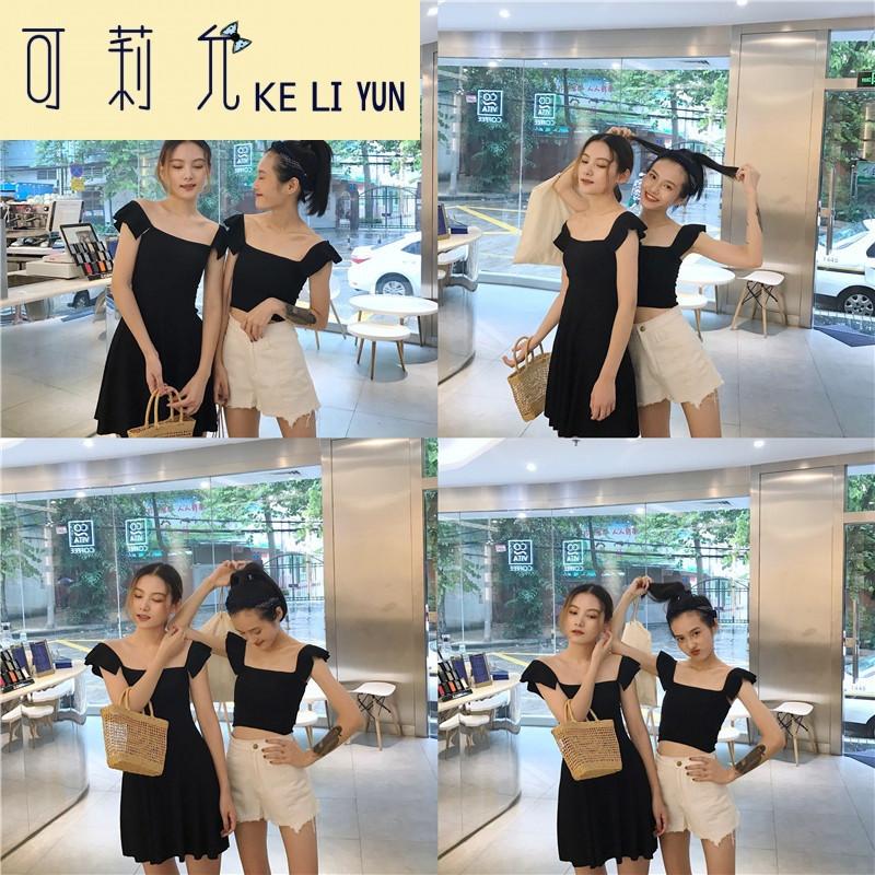 keliyun女装夏装2017新款百搭学院风小可爱荷叶边两穿式学生短上衣