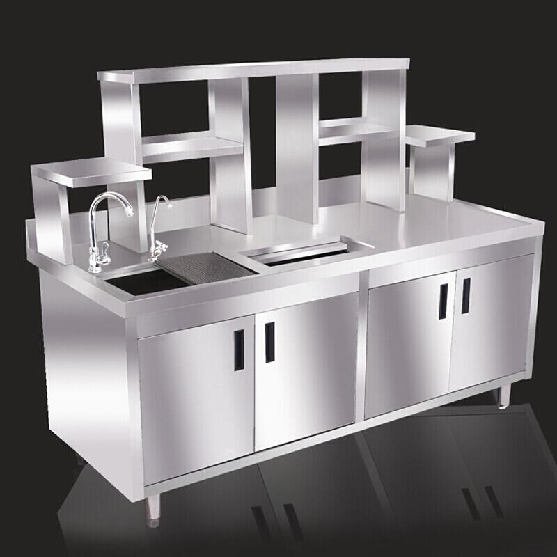 纳丽雅不锈钢冷藏工作台奶茶贡茶水吧台操作台