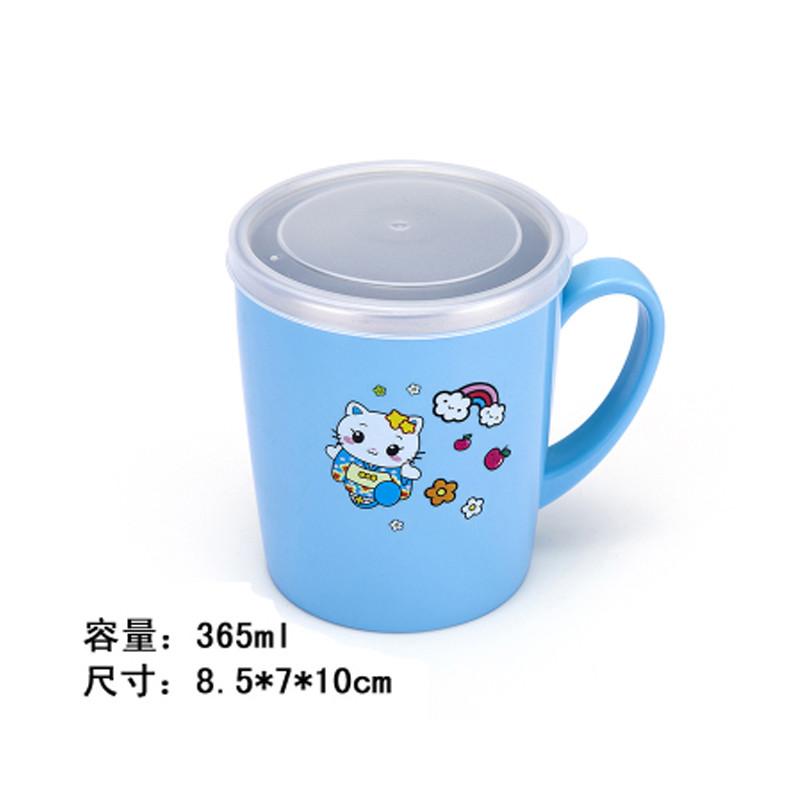 大号不锈钢带盖水杯幼儿园卡通手把宝宝双层隔热口杯三色可选水杯