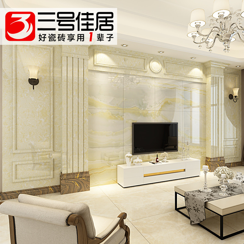 三号佳居电视背景墙瓷砖微晶石大理石罗马柱背景墙客厅护墙板墙砖