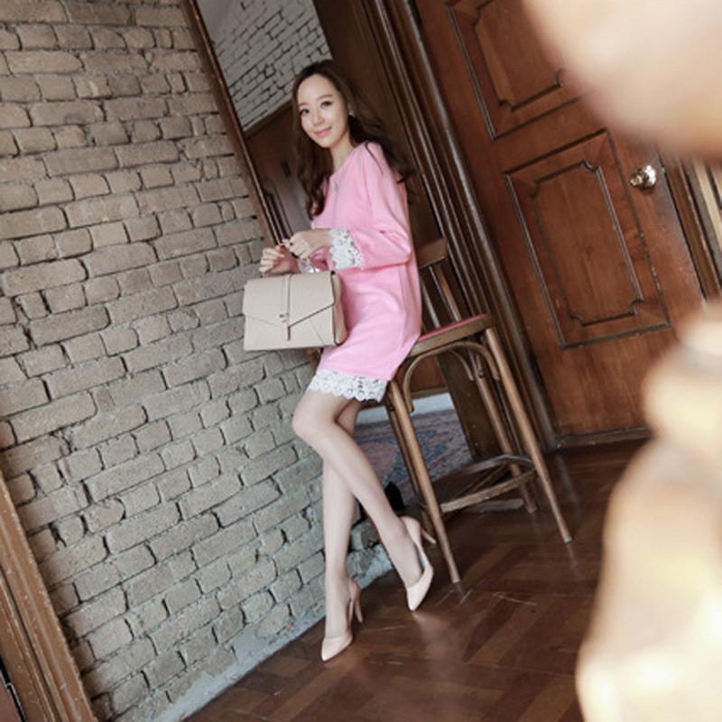朵维思(dowisi) 2017秋装新款韩版粉红毛昵蕾丝女装卫衣瘦腰连衣裙