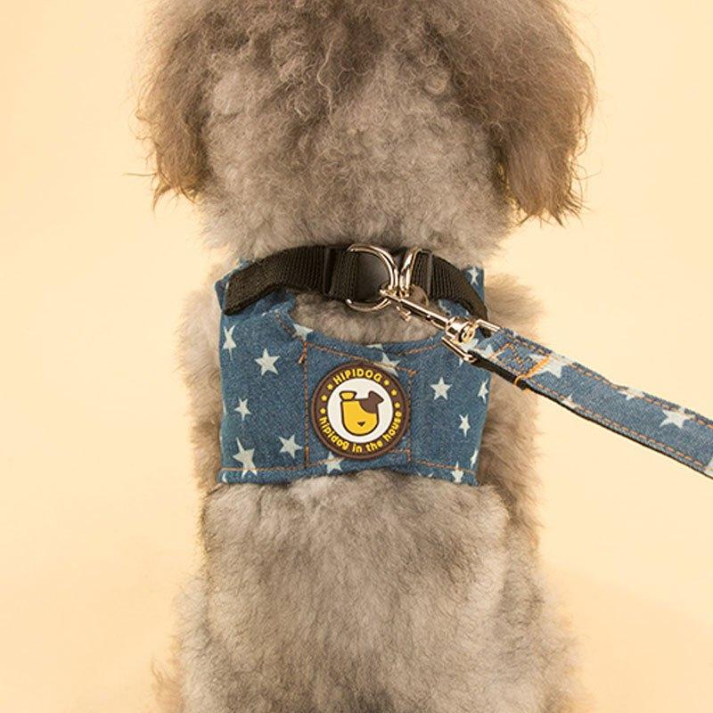 可爱宠物狗狗牛仔背心牵引绳泰迪比熊小狗狗绳子宠物中小型犬遛狗绳胸