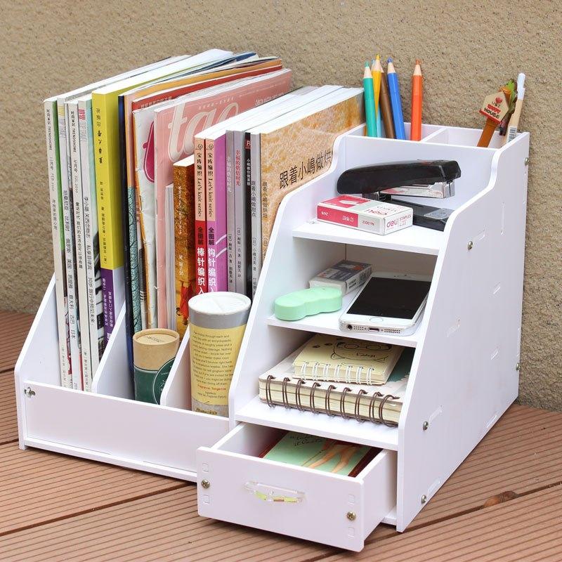 办公桌收纳盒桌面收纳盒书架大号文件架文具资料架书桌整理盒储物架图片