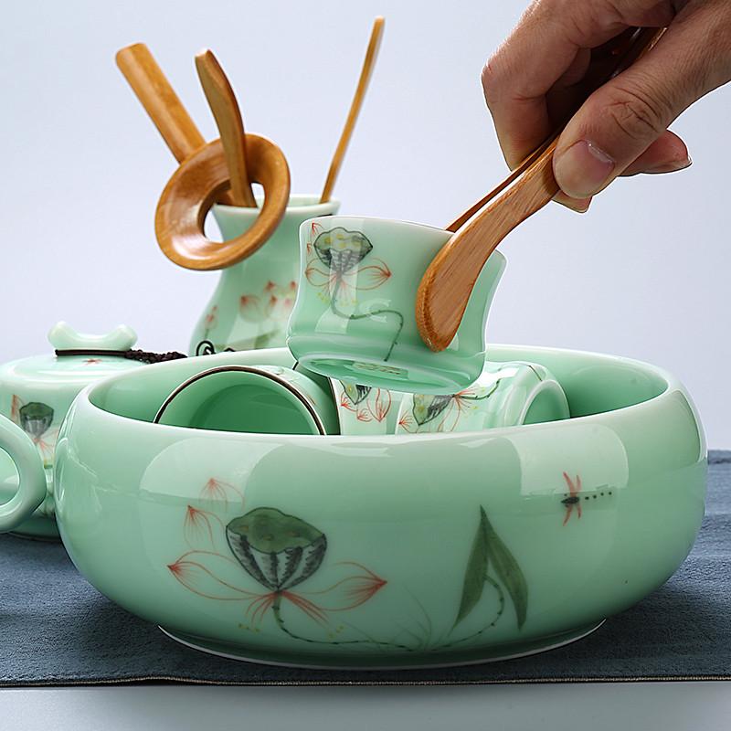 青瓷茶具手绘龙泉功夫套装整套手工荷花茶壶陶瓷盖碗茶海茶杯茶具生活