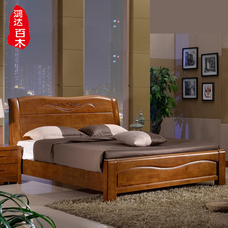 实木双人床卧室 中式木床 简约现代乡村风格实木床 1.5米 1.8米婚床图片