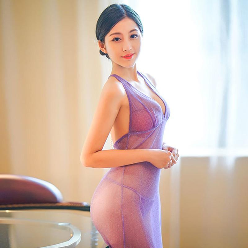 叶子媚闪光超薄睡衣透明v闪光紫色情趣长裙露背晚礼服女士睡裙6193透明性感睡裙小说图片