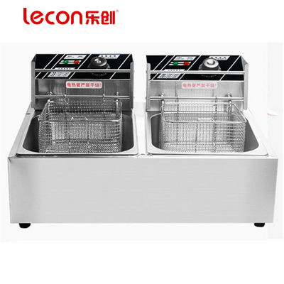 lecon/乐创珍轩 电炸炉 油炸锅商用 双缸电炸锅 油条炸机薯塔机 炸薯条油炸炉 小食店设备
