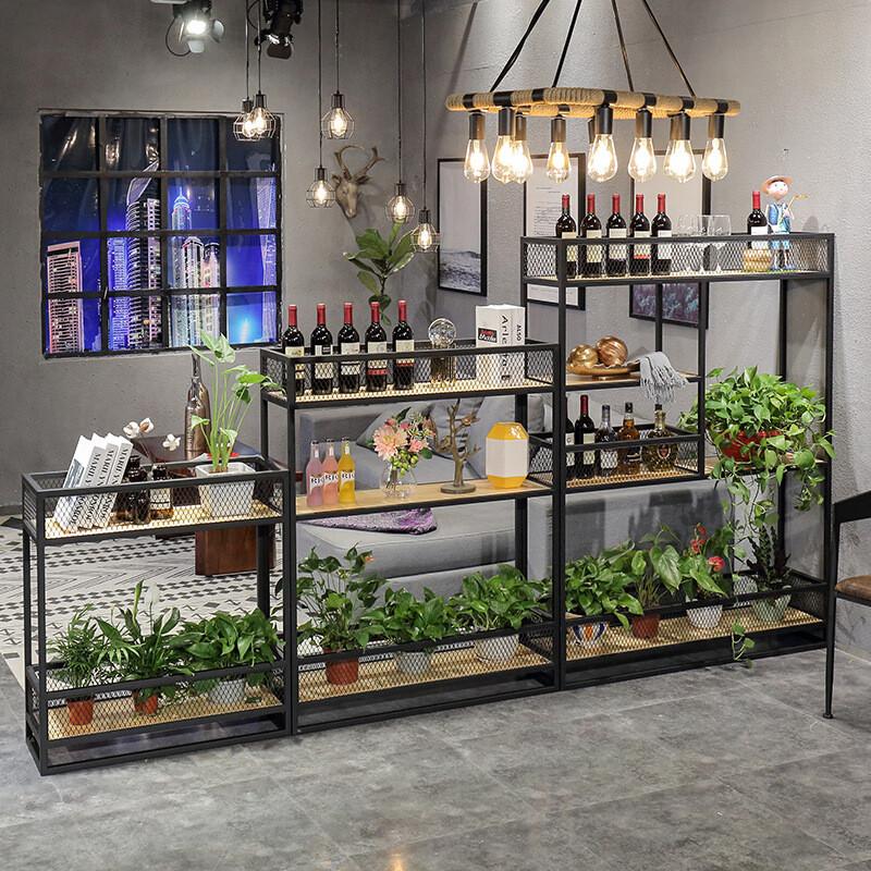 铁与木美式铁艺屏风隔断花架复古创意北欧实木客厅办公室置物架书架酒图片
