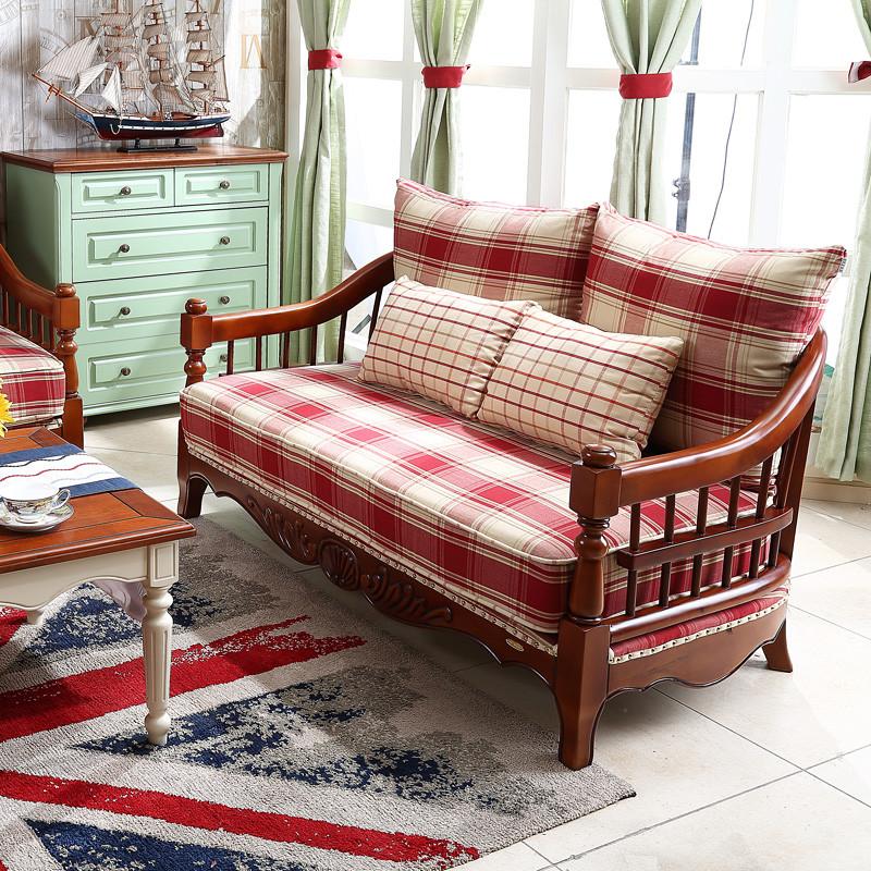 好风景家居 美式乡村沙发 美式沙发布艺转角三人双人沙发39n0003