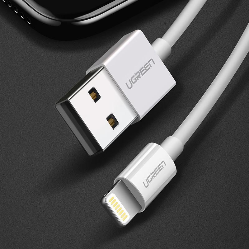 绿联iphone6s/6/7/5s苹果数据线 mfi认证 手机充电器线电源线 白色2米
