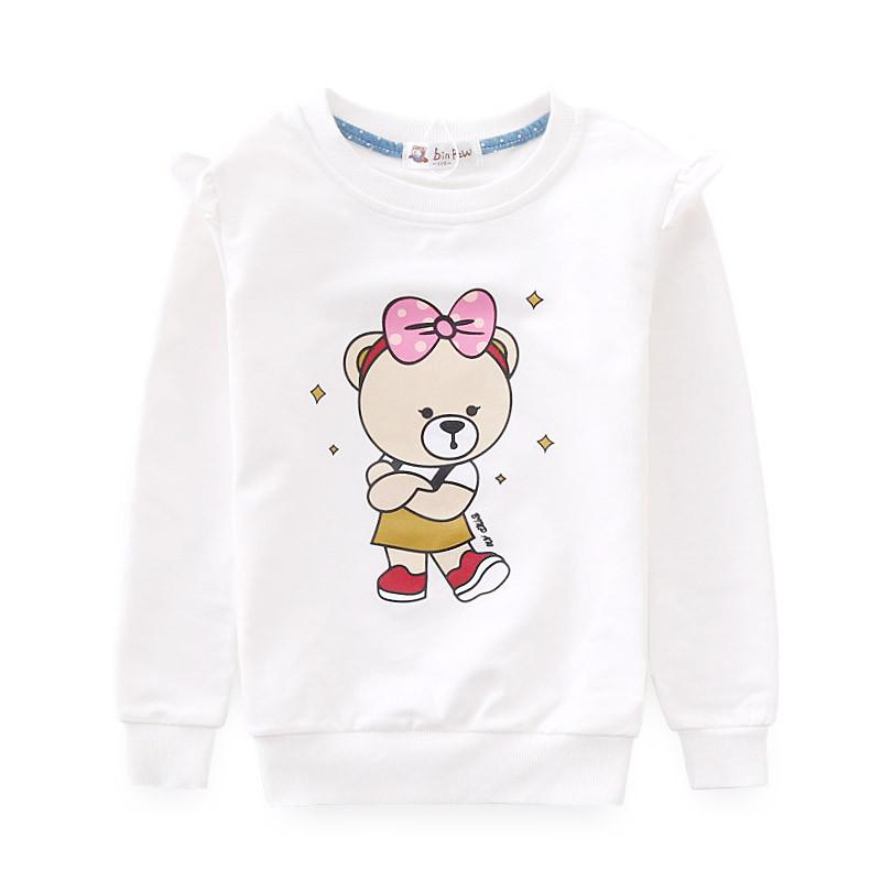 童装女童秋装t恤 女宝宝可爱休闲运动圆领全棉肩膀花边长袖t恤