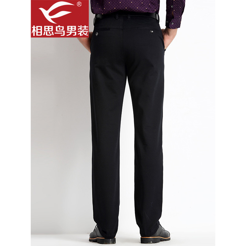 红豆相思鸟男装休闲裤长裤中腰黑色深蓝色100 棉