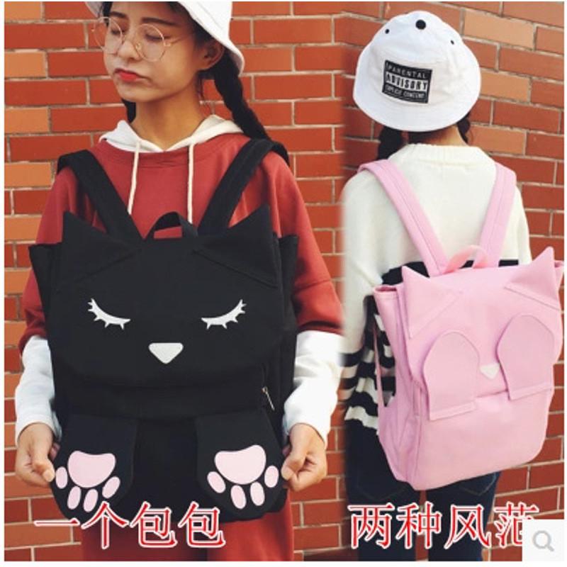 卡通猫咪双肩包女韩版可爱小中学生书包纯色帆布校园大容量背包潮