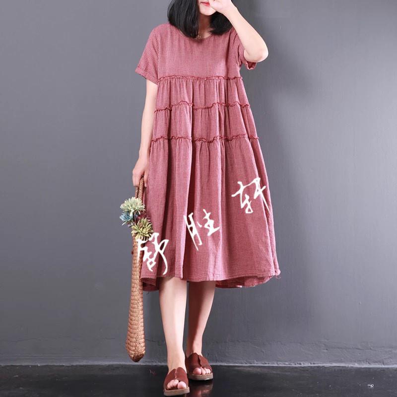 2018夏秋新款大码女装韩版文艺森系格子棉麻连衣裙大码纯色中长裙图片