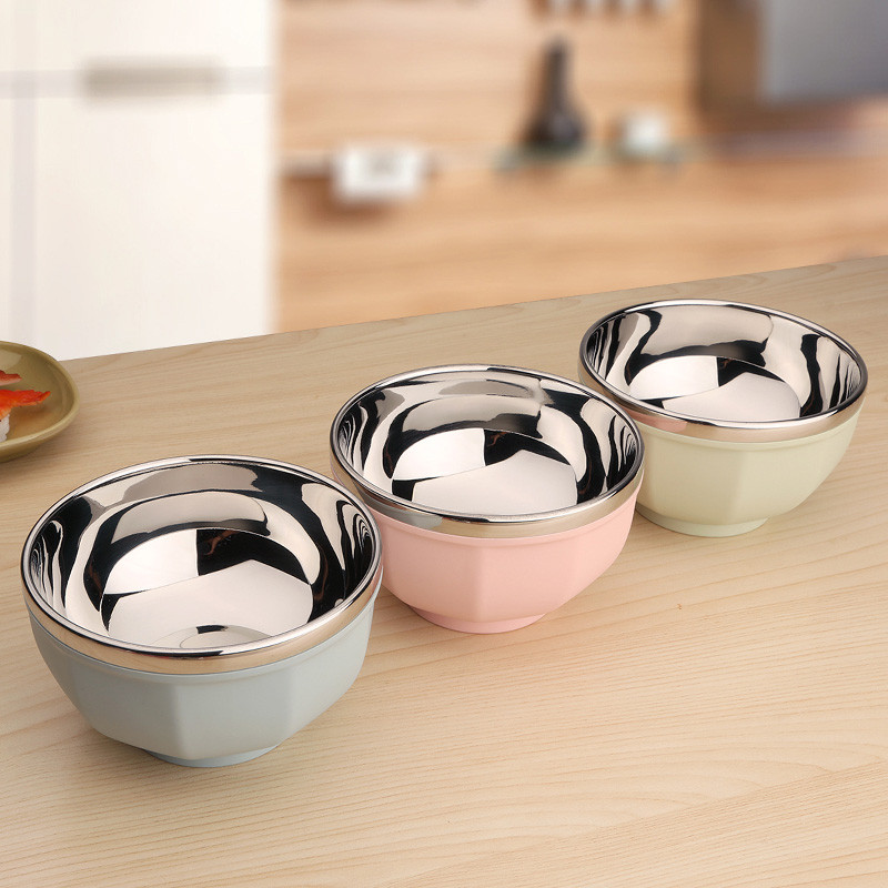 不锈钢碗双层隔热碗宝宝防摔碗彩色家用饭碗沙拉碗带盖饭盒图片