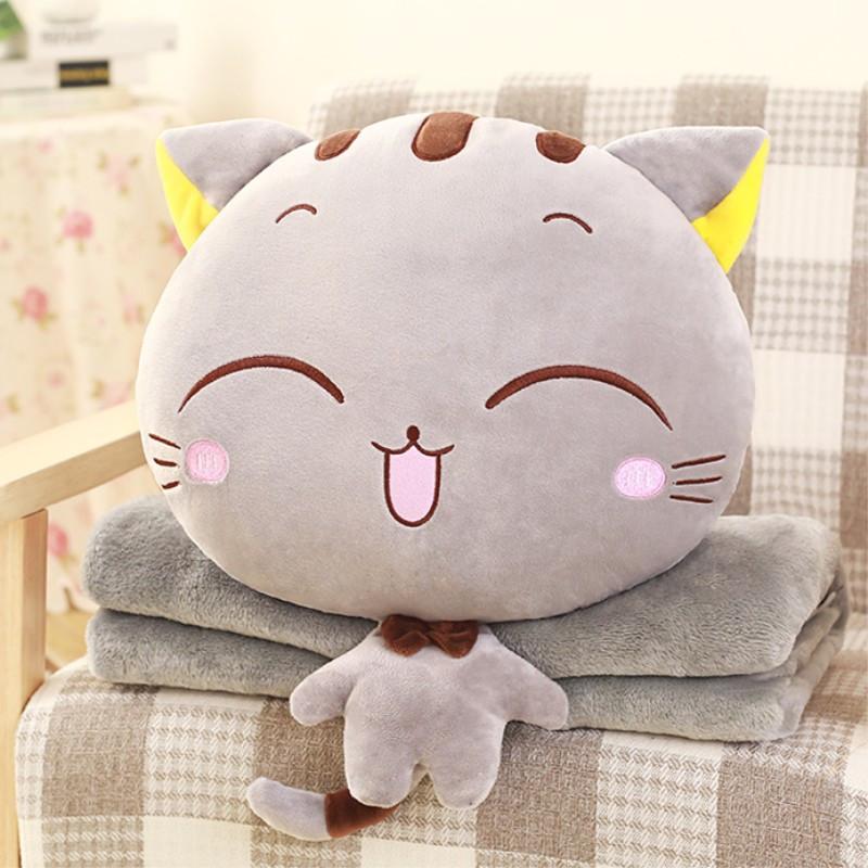 多功能靠枕毯可爱猫咪卡通抱枕被子车用办公室空调被抱枕靠垫-灰色圆