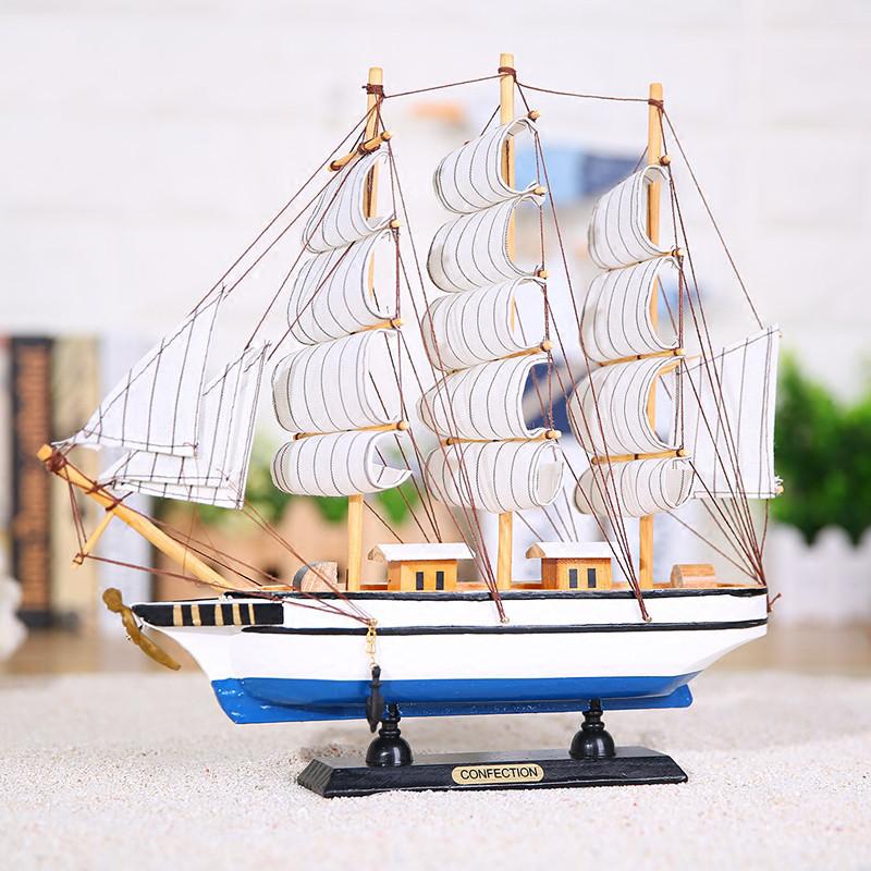 帆船海盗船木质模型摆件创意家居装饰品手工艺品小木船-32cm白布帆船