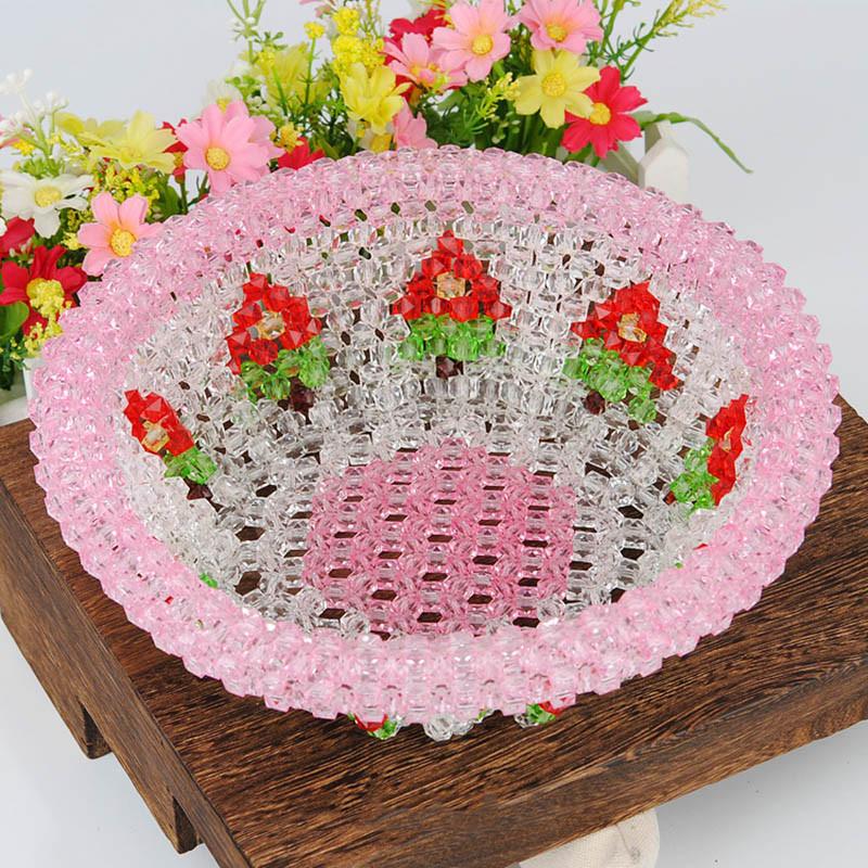 水果盘糖果盘糖果盒手工串珠diy饰品材料包编织礼物仙桃果盘-玫红仙桃