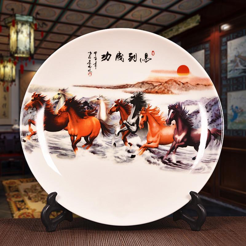 陶瓷家居艺术品摆件装饰盘子摆件酒柜看盘座盘工艺品摆设-马到成功图片