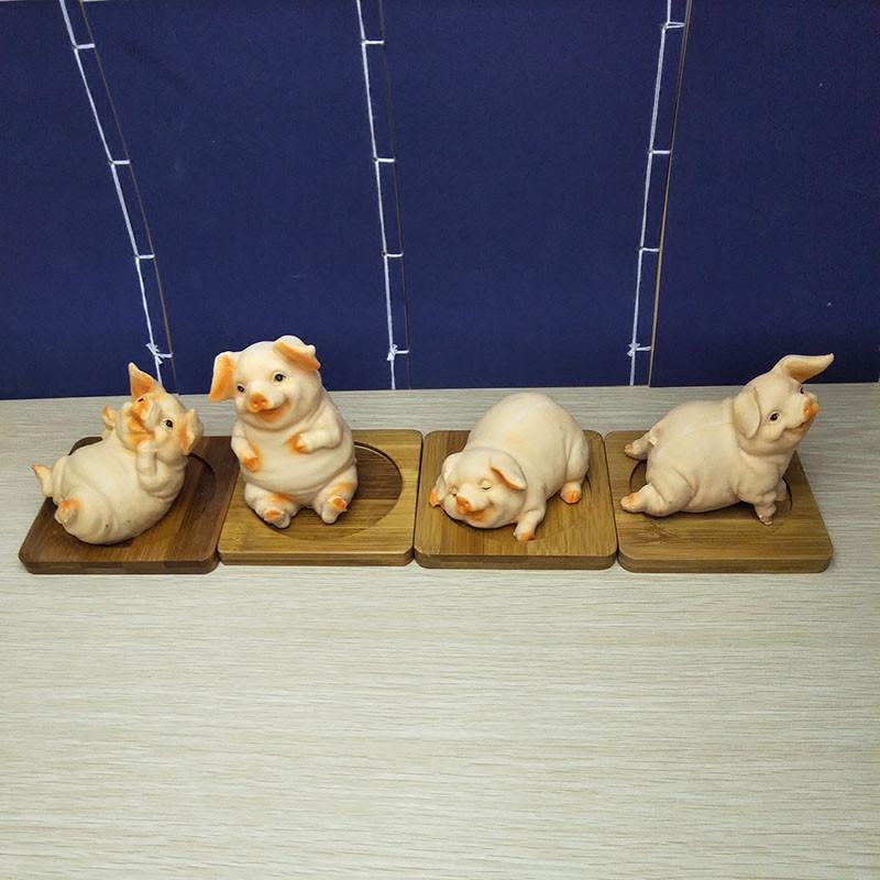 仿真胖猪肥猪摆件 可爱生肖小猪工艺品茶宠园艺摆设 创意生日礼物