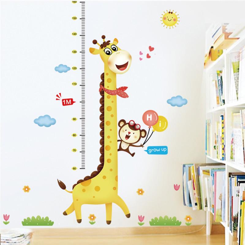 身高贴卧室系列儿童房卡通量身高贴纸长颈鹿可移除墙贴-c款长颈鹿气球