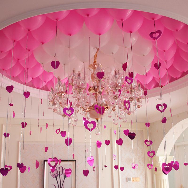 婚庆用品浪漫气球装饰婚房布置生日派对雨丝爱心吊坠气球套餐-红 粉