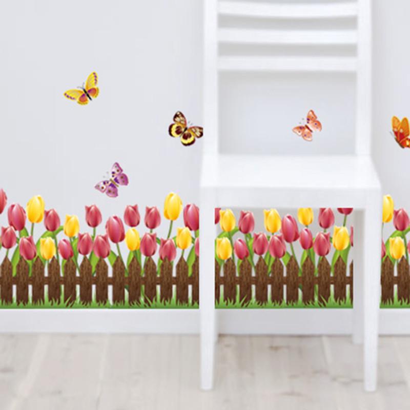线墙角地脚线走廊背景墙贴纸防水玻璃橱窗瓷砖贴画-b款:黄色栅栏小花