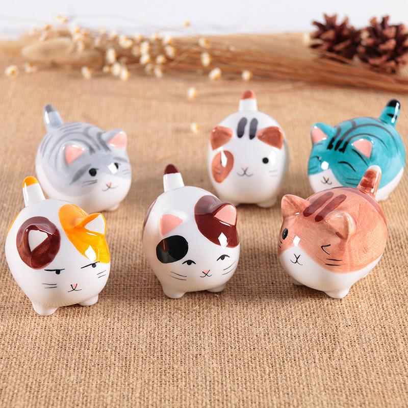 陶瓷猫咪摆件办公桌卡通动物家居饰品创意女男生日礼物-6只肥猫
