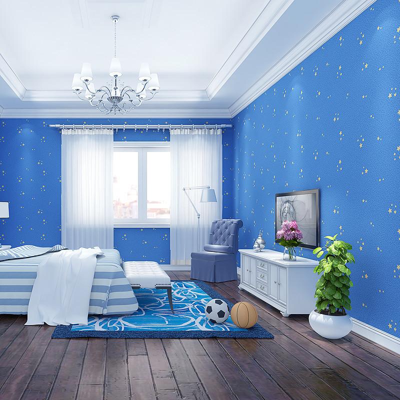 蓝色卡通星星墙贴纸装饰墙纸夜光墙纸儿童房间壁纸-浅