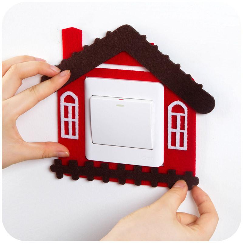 装饰开关贴纸欧式可爱墙贴卡通开关套墙壁插座装饰保护套-红色小房子