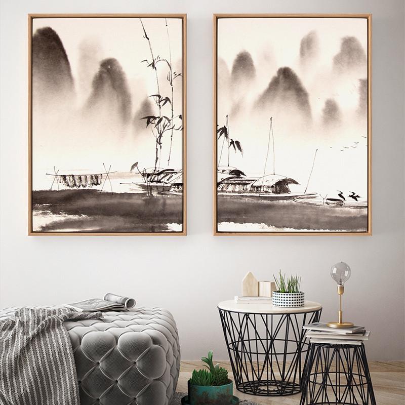现代中式三联山水画黑白风景客厅水墨茶室壁画挂书房意境装饰画-60*80