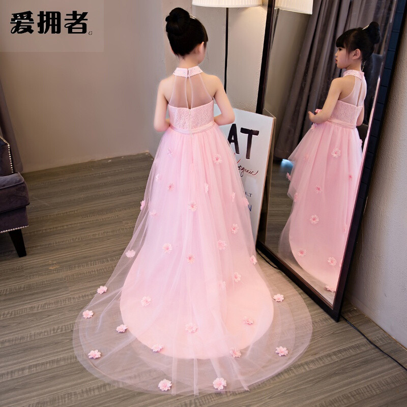 爱拥者女童生日晚礼服公主裙拖尾大童儿童婚纱花童钢琴走秀演出服粉色