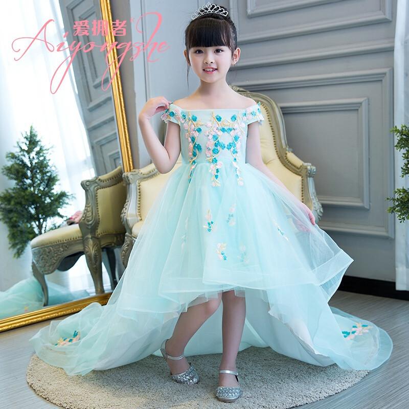 爱拥者儿童礼服花童拖尾婚纱礼服一字肩公主裙女童钢琴演出服走秀礼