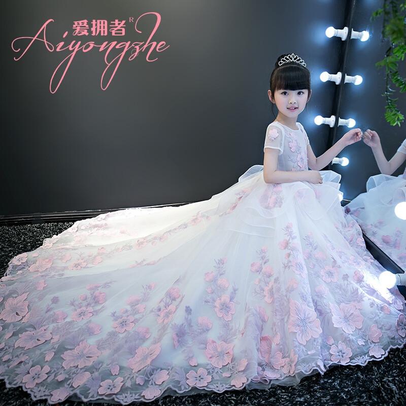 爱拥者儿童婚纱礼服公主裙花童拖尾女童婚纱走秀礼服主持钢琴演出晚