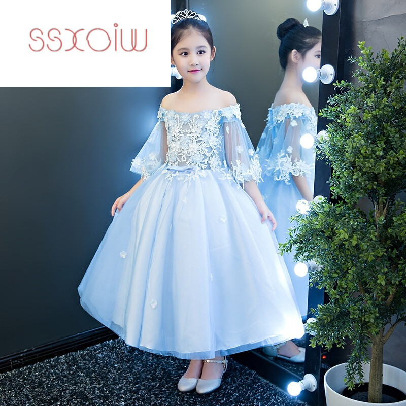 斯妍女童婚纱蓬蓬小孩儿童模特走秀晚礼服公主裙一字肩花童钢琴演出服