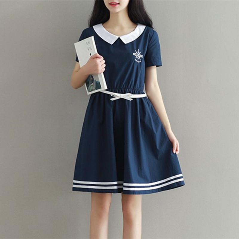 夏装新款13岁学院风可爱娃娃领连衣裙14初中学生15少女中长裙子16