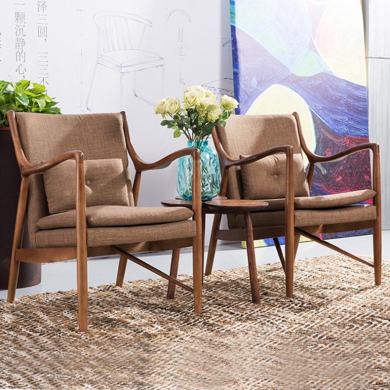 龙森家具 北欧沙发椅 白蜡木休闲椅实木北欧休闲沙发椅阳台午睡椅