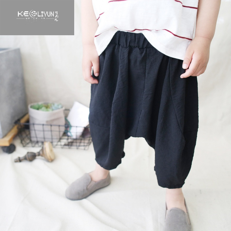 可莉允时尚品牌男童裤子2017夏季新款韩版棉麻休闲哈伦裤儿童七分裤宝