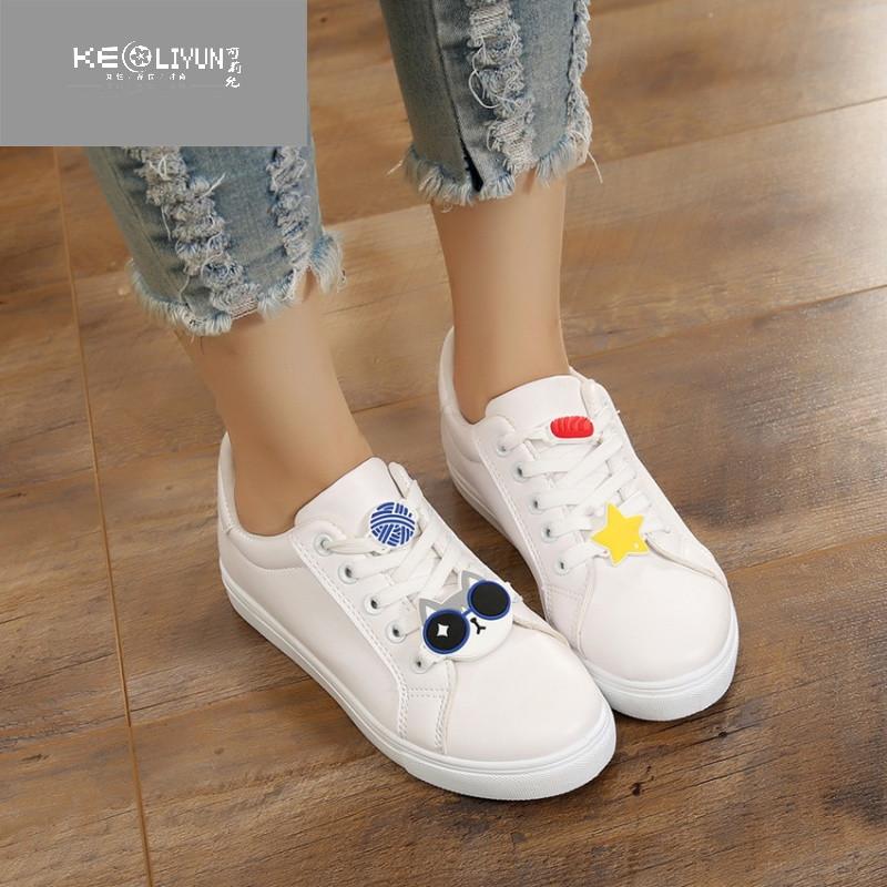 大童儿童鞋子秋季女童女孩子小学生可爱平底小白板鞋12-16岁白鞋