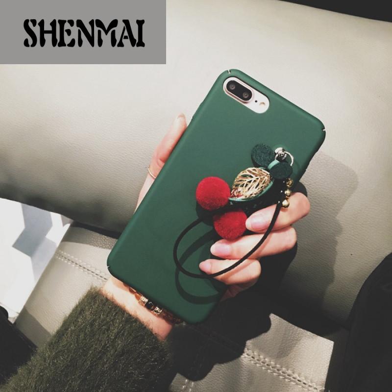 shm品牌韩国创意挂饰小樱桃苹果6s手机壳iphone7 6plus可爱吊坠保护套