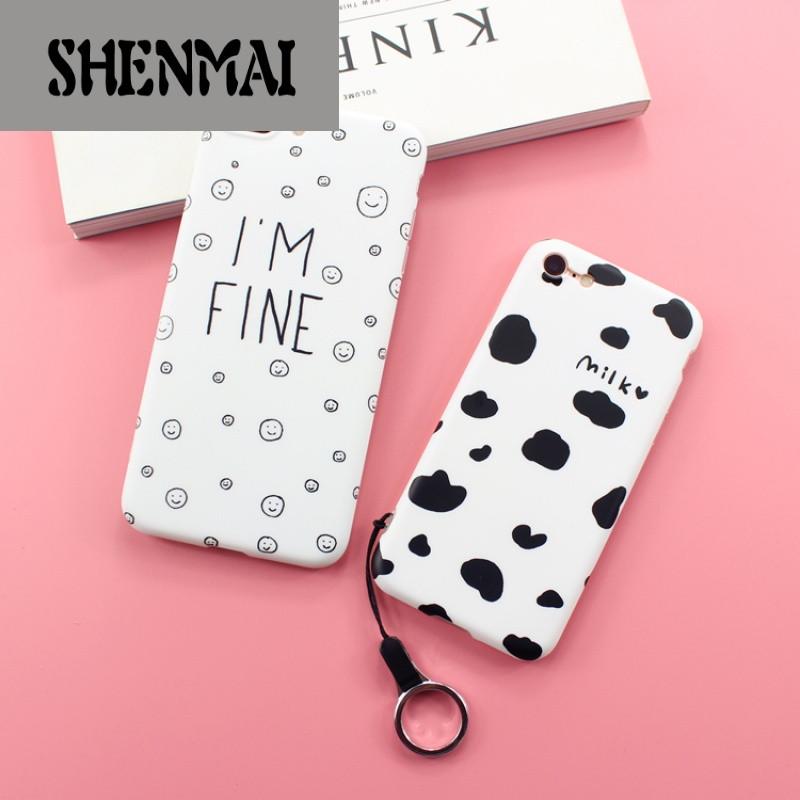 shm品牌小清新奶牛苹果7卡通笑脸手机壳iphone6s创意日韩国7plus潮女